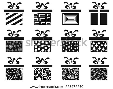 black gift box icon set - stock vector