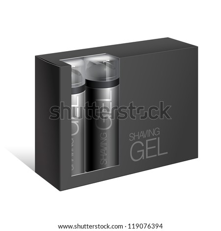 Black Gift Package Cardboard Box with a window with two bottles of shaving gel. Vector illustration - stock vector
