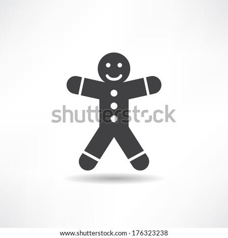 black gingerbread man - stock vector