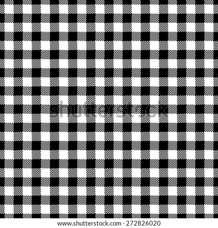 Black Gingham Tablecloth, Seamless Pattern Background