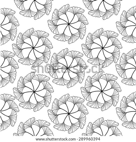 black gingko leaf circle sketch doodle pattern seamless on white background - stock vector