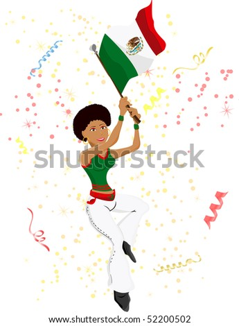 Black Girl Mexico Soccer Fan with flag. Editable Vector Illustration - stock vector