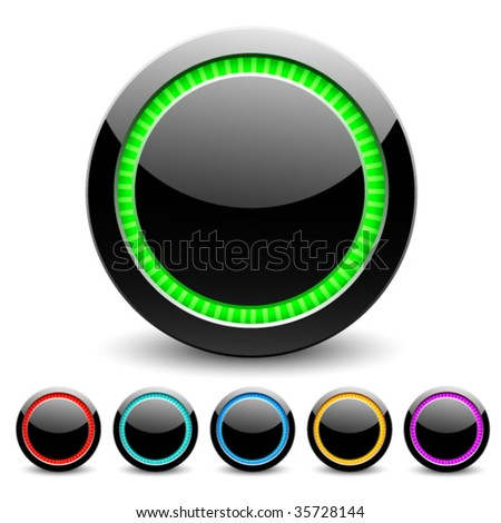 Black glance buttons for web design. Vector. - stock vector