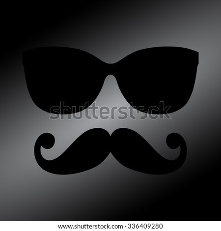 Black glasses with a mustache - stock vector