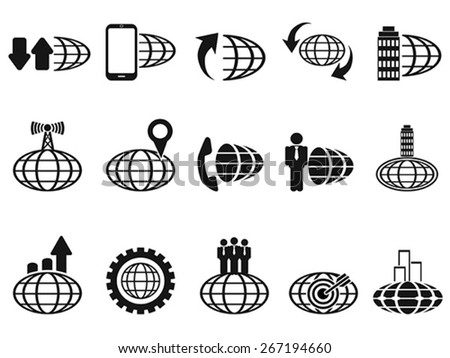 black global business icons set - stock vector