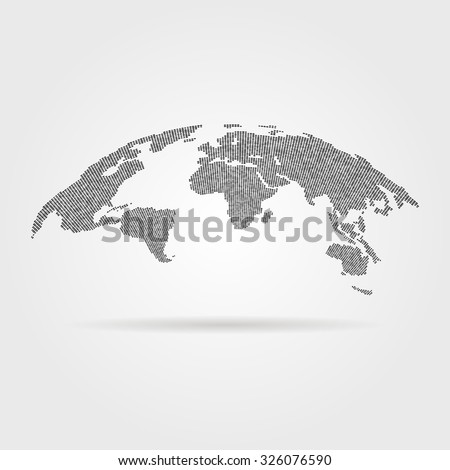 black global world map from points. concept of infographics element, trip around the world, globalization. isolated on gray background. flat style trend modern logotype design vector illustration - stock vector