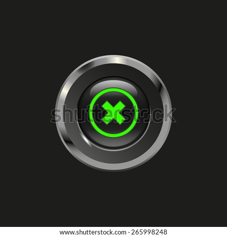 Black glossy button with metallic elements and icon delete, on black background, vector design website - stock vector