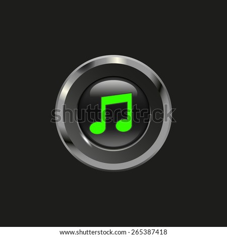 Black glossy button with metallic elements and icon music, on black background, vector design for website - stock vector