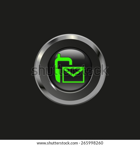 Black glossy button with metallic elements and icon sms (mms), on black background, vector design website - stock vector