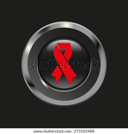 Black glossy button with metallic elements and red icon AIDS, on black background, vector design website - stock vector