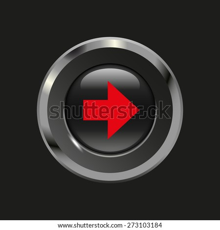 Black glossy button with metallic elements and red icon arrow right, on black background, vector design website - stock vector