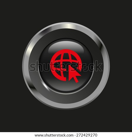 Black glossy button with metallic elements and red icon globe (go to web), on black background, vector design website - stock vector