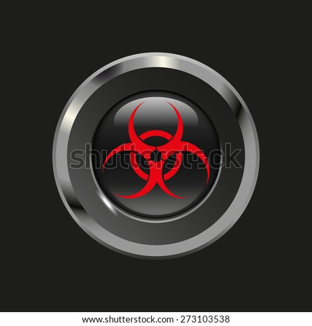 Black glossy button with metallic elements and red icon virus, on black background, vector design website - stock vector