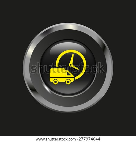 Black glossy button with metallic elements and yellow icon delivery, on black background, vector design website - stock vector