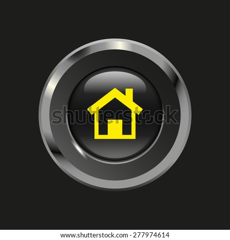 Black glossy button with metallic elements and yellow icon home, on black background, vector design website - stock vector
