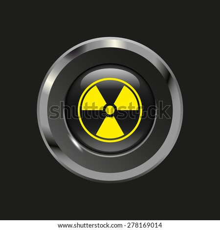 Black glossy button with metallic elements and yellow icon radiation, on black background, vector design website - stock vector