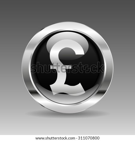 Black Glossy Chrome Button - British Pount - stock vector