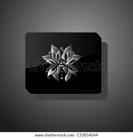 Black glossy form with abstract flower - stock vector