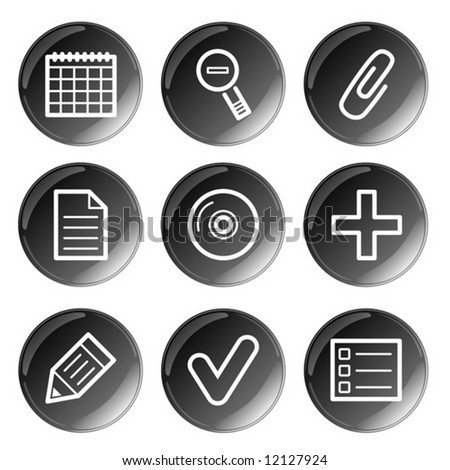 Black glossy multimedia icons set. Vector.