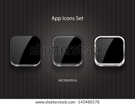 Black glossy vector square app icons - stock vector