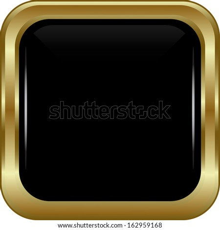Black gold button. Abstract vector illustration. - stock vector