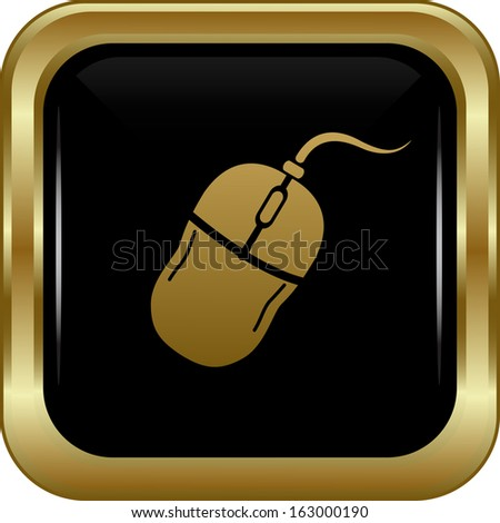 Black gold computer mouse icon. Abstract vector illustration. - stock vector