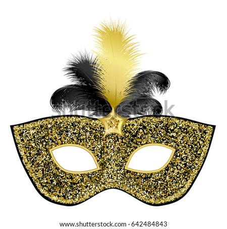 Black gold glittering mask with feather on white background