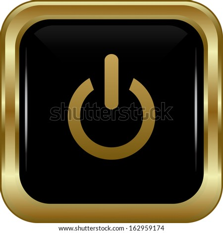 Black gold power button. Abstract vector illustration. - stock vector