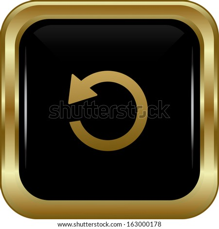 Black gold return button. Abstract vector illustration. - stock vector
