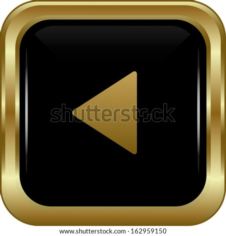 Black gold rewind button. Abstract vector illustration. - stock vector