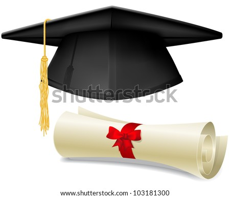 Black graduation cap, mortarboard and diploma scroll, made with gradient mesh - stock vector