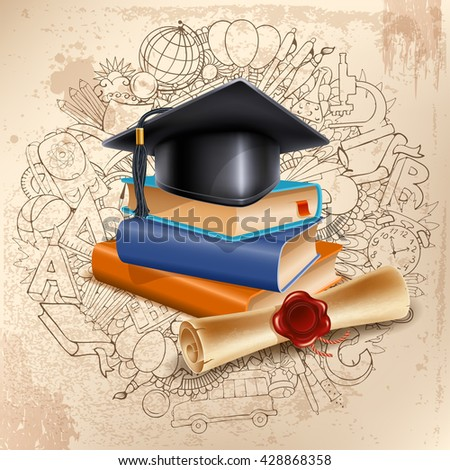 Black graduation cap on stack of books and diploma on doodle hand drawn background with different school objects. Back to school concept. Congratulation Graduation. Vector illustration. - stock vector