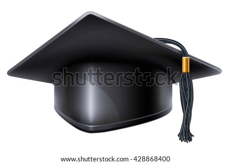 Black graduation cap with black and gold tassel. Isolated on white background. Graduation concept. Graduation icon. Vector illustration. - stock vector
