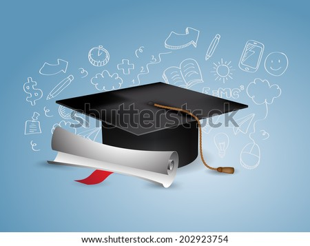 Black Graduation Cap with Degree - with doodles - stock vector