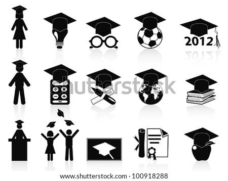 black Graduation icons set - stock vector