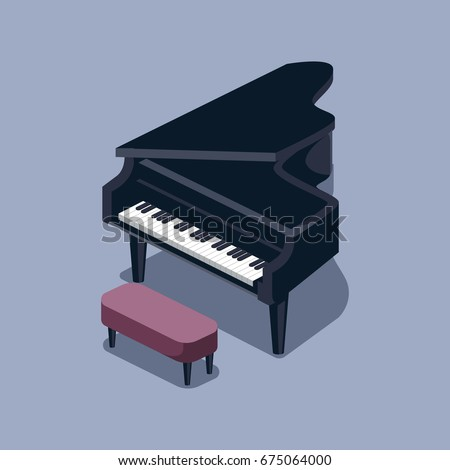 Black Grand Piano Isometric Style Colorful Vector Illustration