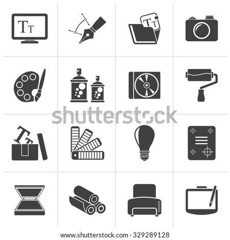 Black Graphic and website design icons - vector icon set - stock vector