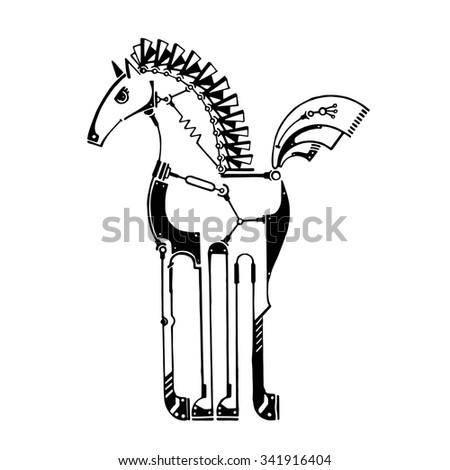 Black graphic steampunk stylized animal, techno horse, hand drawn vector illustration - stock vector