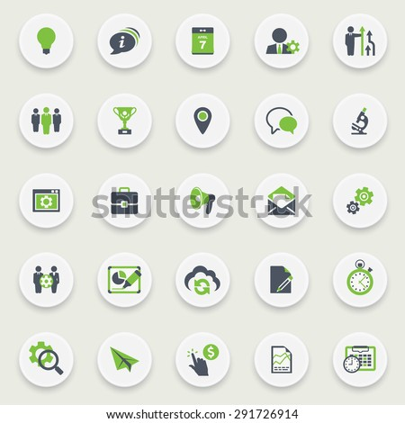 Black green icons on white buttons. Flat design.. - stock vector