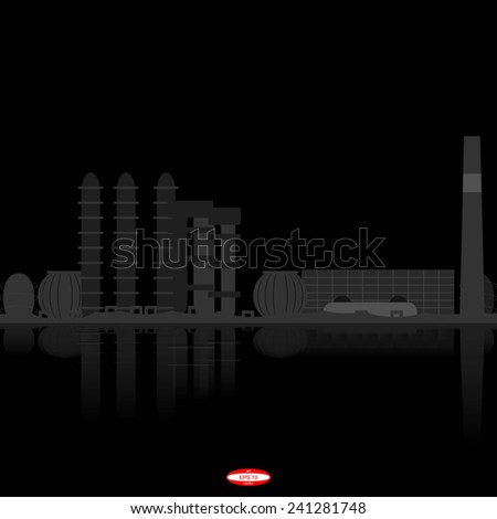black grey abstract chemical plant with reflection on black background vector