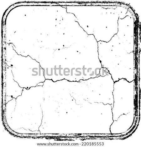 Black Grunge Crack Dirty Texture with Rectangle Distress Border Frame Banner . Rubber Stamp . Vector Illustration .