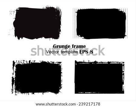 Black grunge frames.Vector illustration. - stock vector