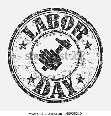 Black grunge rubber stamp with a hand holding a hammer and the text labor day written with capital letters - stock vector