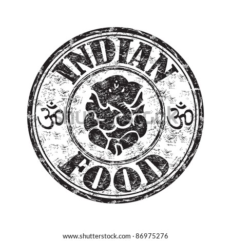 Black grunge rubber stamp with an indian elephant symbol and the text indian food written inside the stamp - stock vector