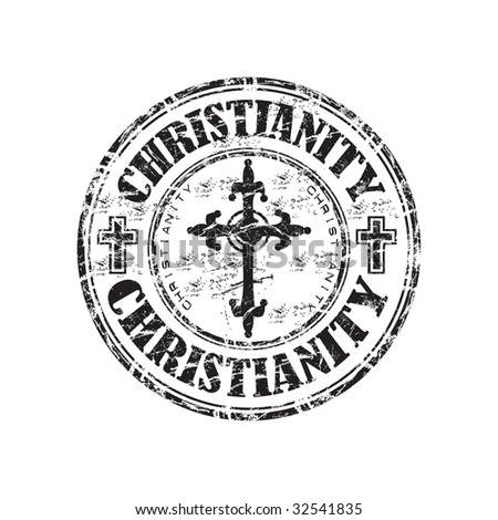 Black grunge rubber stamp with christian crosses and the word christianity written inside the stamp - stock vector