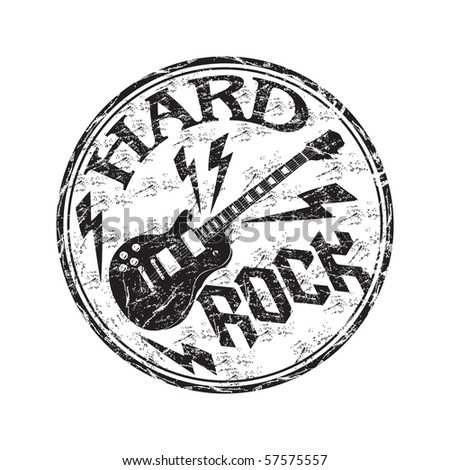 Black grunge rubber stamp with electric guitar and the text hard rock written inside the stamp - stock vector