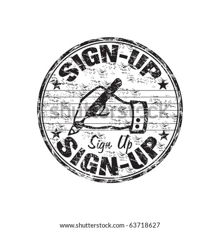 Black grunge rubber stamp with hand writing sign and the text sign up written inside the stamp - stock vector