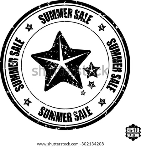 Black grunge rubber stamp with stars and the text summer sales written inside the stamp. Vector - stock vector