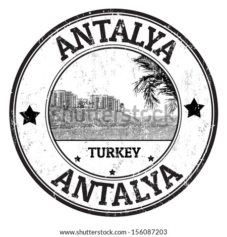 Black grunge rubber stamp with the name of Antalya city from Turkey,  vector illustration