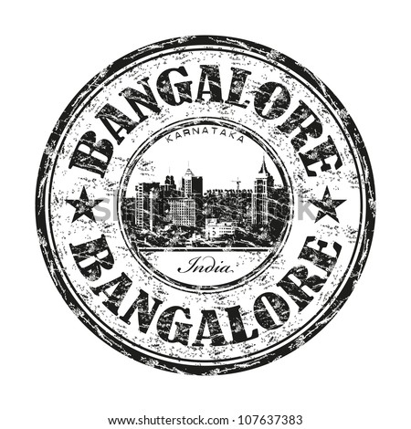 Black grunge rubber stamp with the name of Bangalore city from India written inside the stamp
